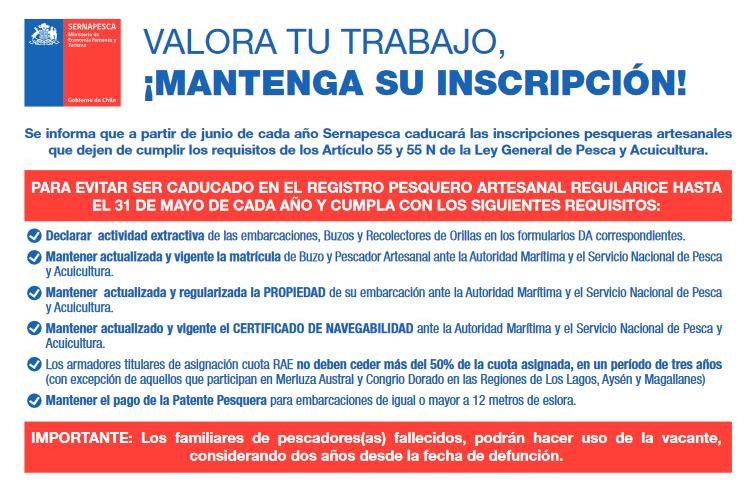 Sernapesca llama a usuarios/as a revisar y actualizar información en el Registro Pesquero Artesanal