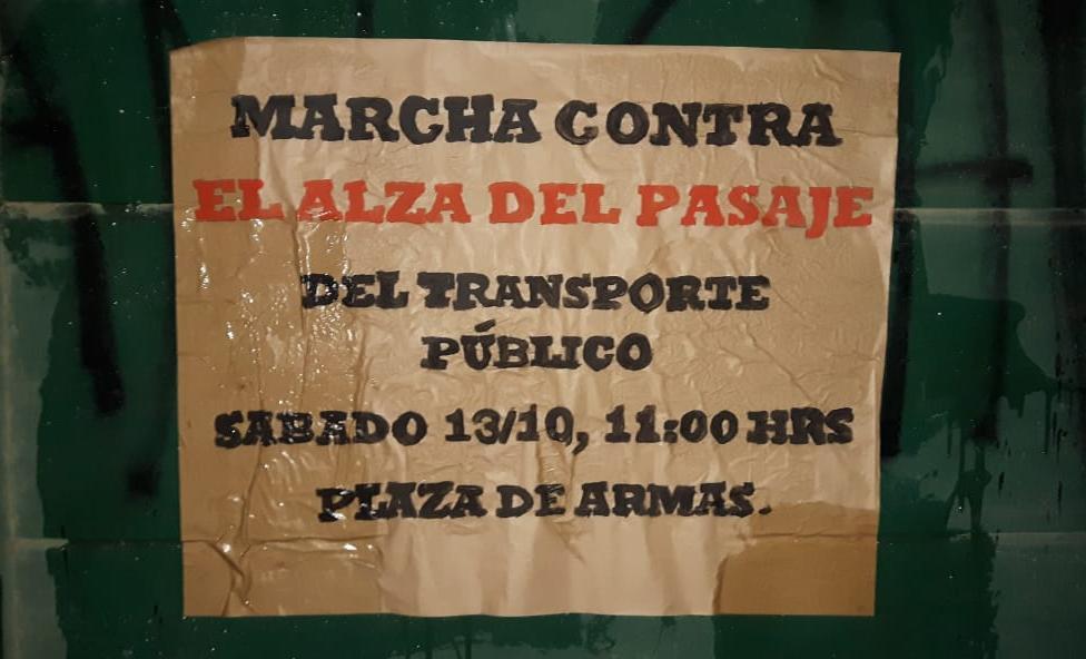 Convocan a manifestación contra alza de pasajes en Casablanca para este sábado 13