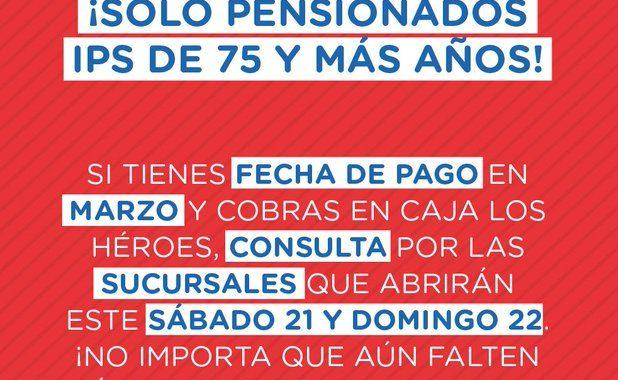 Sucursales de pago Los Héroes abrirán este fin de semana para atender a pensionados IPS sobre 75 años