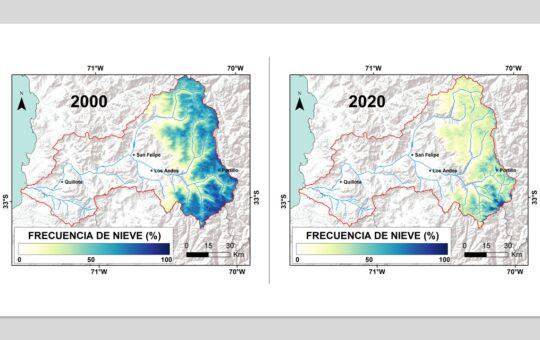 Marcado descenso de cobertura de nieve en Cuenca del Aconcagua amenaza abastecimiento hídrico intercomunal